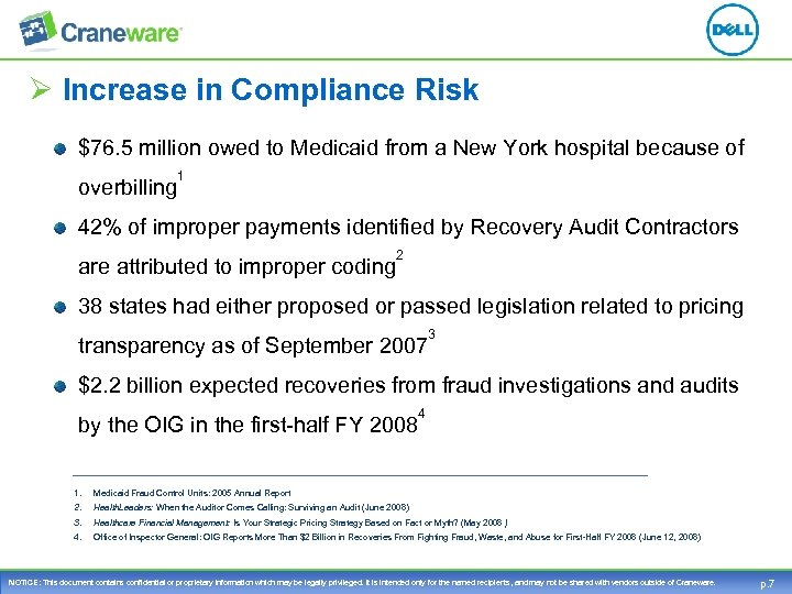 Ø Increase in Compliance Risk $76. 5 million owed to Medicaid from a New