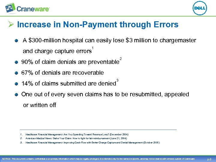 Ø Increase in Non-Payment through Errors A $300 -million hospital can easily lose $3