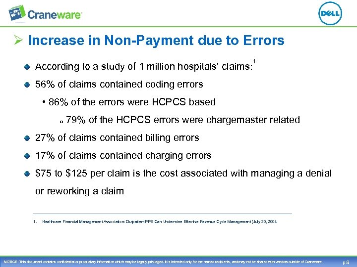 Ø Increase in Non-Payment due to Errors According to a study of 1 million