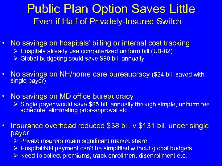Public Plan Option Saves Little Even if Half of Privately-Insured Switch • No savings