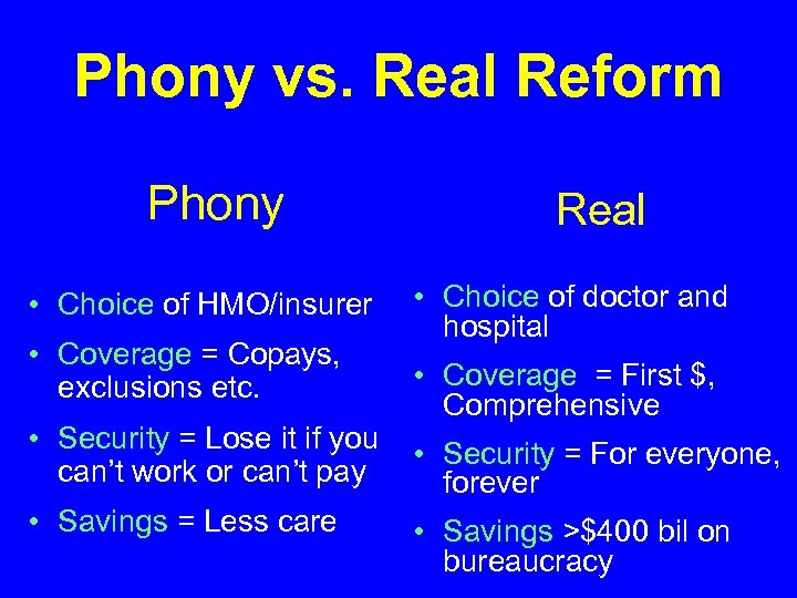 Phony vs. Real Reform Phony • Choice of HMO/insurer • Coverage = Copays, exclusions