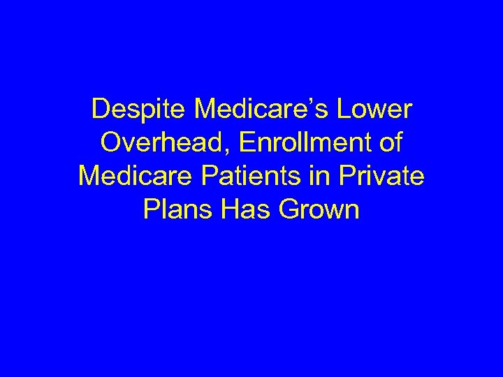 Despite Medicare's Lower Overhead, Enrollment of Medicare Patients in Private Plans Has Grown