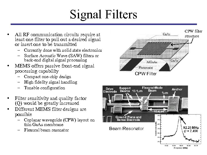Signal Filters • CPW filter structure All RF communication circuits require at least one