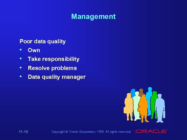 Management Poor data quality • • Own Take responsibility Resolve problems Data quality manager