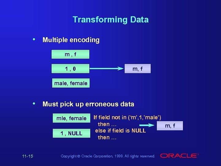 Transforming Data • Multiple encoding m, f 1, 0 m, f male, female •
