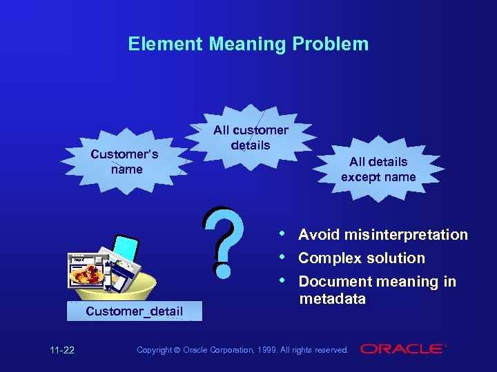 Element Meaning Problem Customer's name Hollywood Cu s tom ers : a rec orof