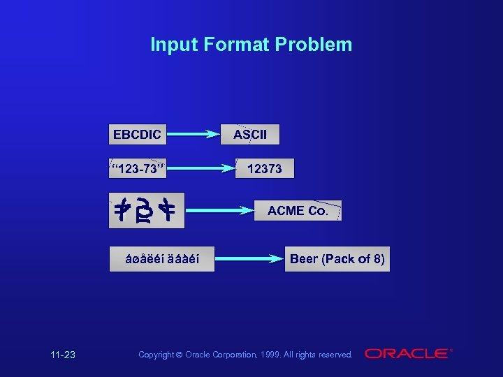 "Input Format Problem EBCDIC "" 123 -73"" ASCII 12373 ACME Co. áøåëéí äáàéí 11"