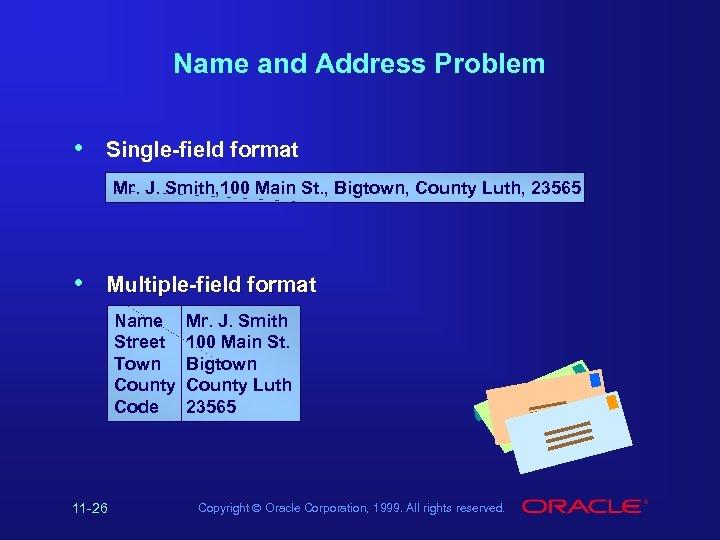 Name and Address Problem • Single-field format Mr. J. Smith, 100 Main St. ,