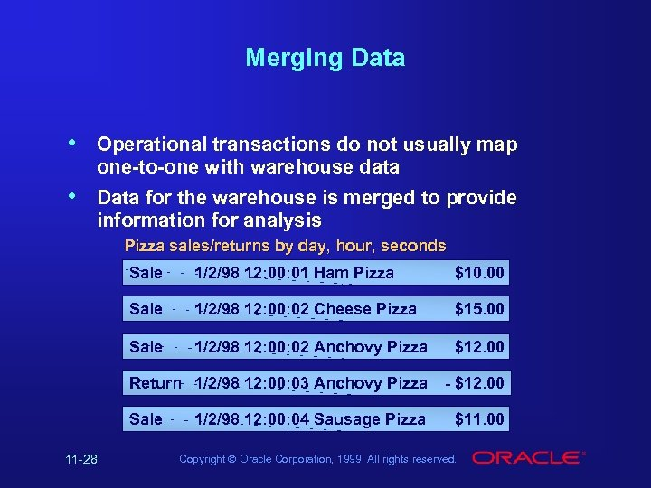Merging Data • Operational transactions do not usually map one-to-one with warehouse data •