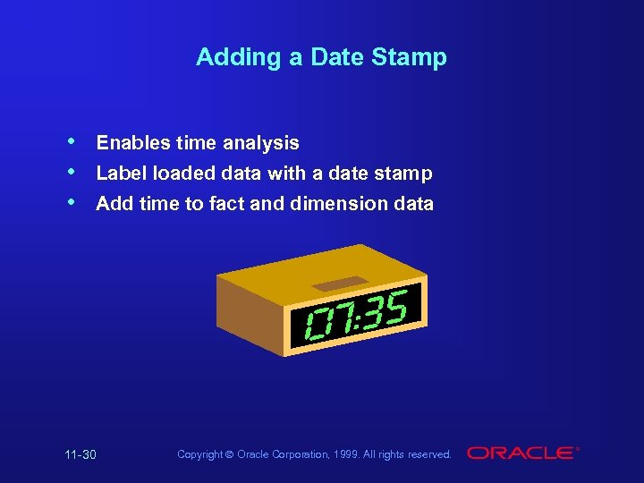Adding a Date Stamp • • • Enables time analysis Label loaded data with
