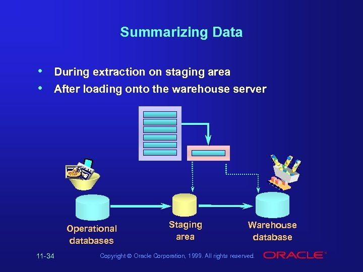 Summarizing Data During extraction on staging area After loading onto the warehouse server http: