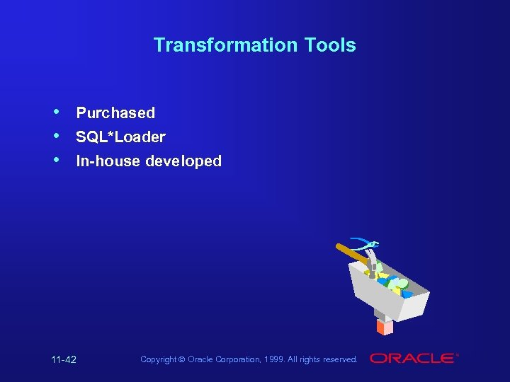 Transformation Tools • • • Purchased SQL*Loader In-house developed 11 -42 Copyright Ó Oracle