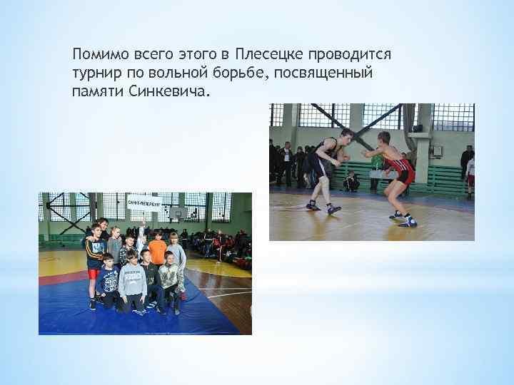 Помимо всего этого в Плесецке проводится турнир по вольной борьбе, посвященный памяти Синкевича.