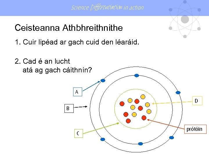 Science Differentiation in action Ceisteanna Athbhreithnithe 1. Cuir lipéad ar gach cuid den léaráid.