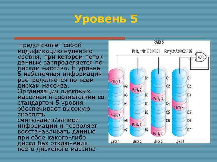 Уровень 5 представляет собой модификацию нулевого уровня, при котором поток данных распределяется по дискам