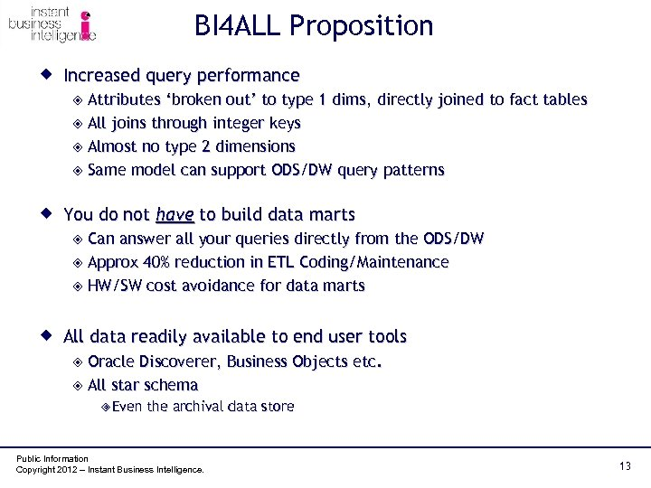 BI 4 ALL Proposition ® Increased query performance ² Attributes 'broken out' to type