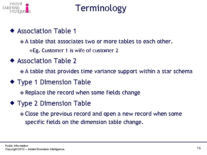 Terminology ® Association Table 1 ²A table that associates two or more tables to
