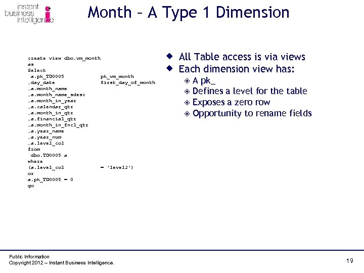 Month – A Type 1 Dimension create view dbo. vm_month as Select a. pk_TD