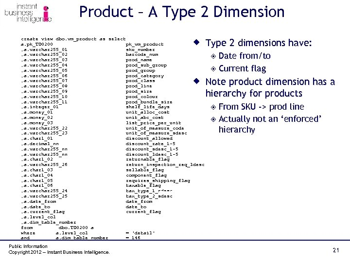 Product – A Type 2 Dimension create view dbo. vm_product as select a. pk_TD