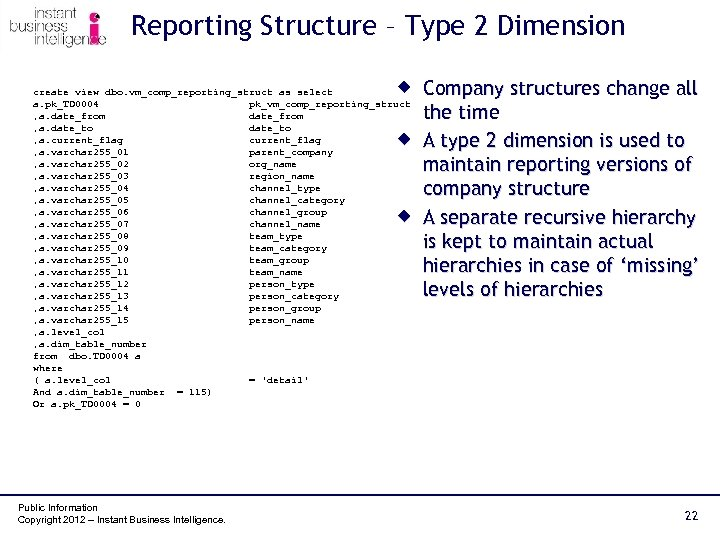 Reporting Structure – Type 2 Dimension ® Company structures change all create view dbo.