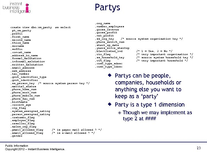 Partys , org_name , number_employees create view dbo. vm_party as select , gross_revenue pk_vm_party