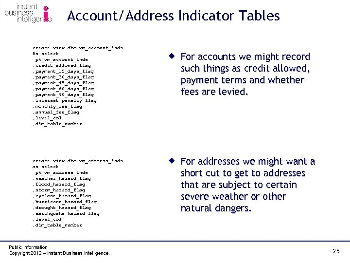 Account/Address Indicator Tables create view dbo. vm_account_inds As select pk_vm_account_inds , credit_allowed_flag , payment_15_days_flag