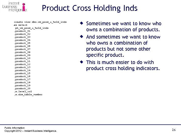 Product Cross Holding Inds create view dbo. vm_prod_x_hold_inds as select pk_vm_prod_x_hold_inds , product_01 ,