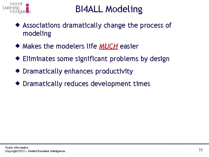 BI 4 ALL Modeling ® Associations dramatically change the process of modeling ® Makes