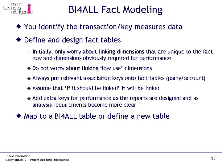 BI 4 ALL Fact Modeling ® You identify the transaction/key measures data ® Define