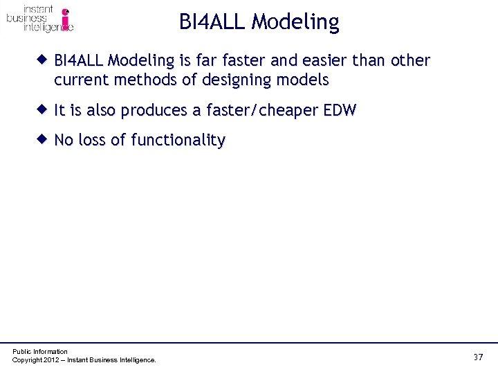 BI 4 ALL Modeling ® BI 4 ALL Modeling is far faster and easier