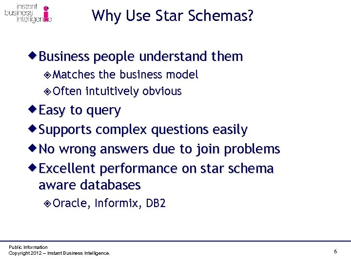 Why Use Star Schemas? ® Business people understand them ² Matches the business model