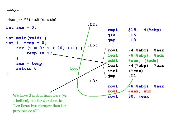 Loops: Example #3 (modified code): int sum = 0; int main(void) { int i,