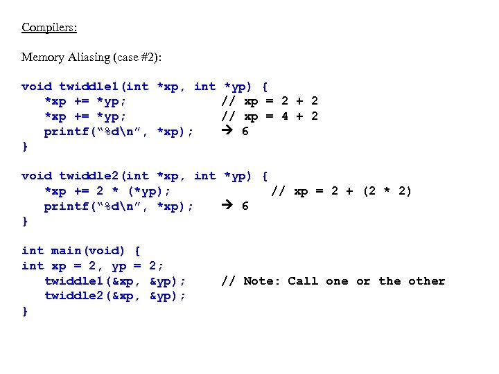 """Compilers: Memory Aliasing (case #2): void twiddle 1(int *xp, int *xp += *yp; printf(""""%dn"""","""