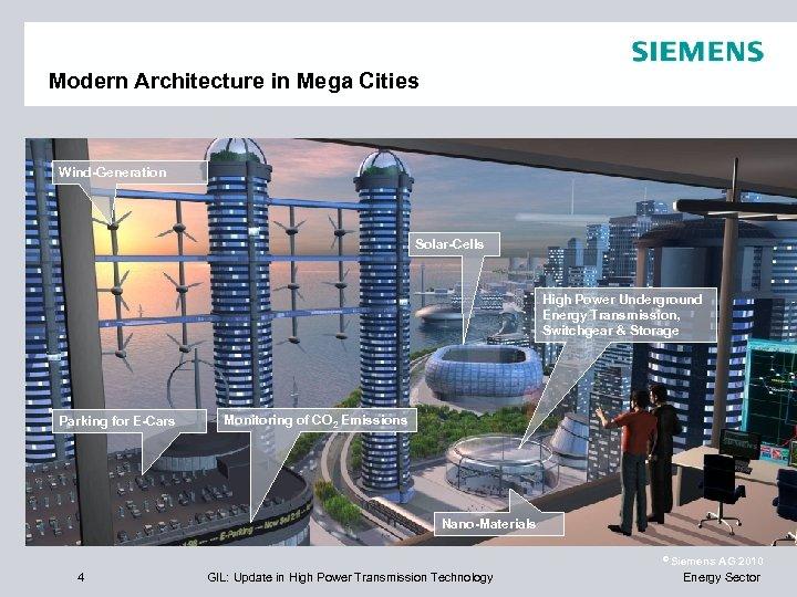 Modern Architecture in Mega Cities Wind-Generation Solar-Cells High Power Underground Energy Transmission, Switchgear &