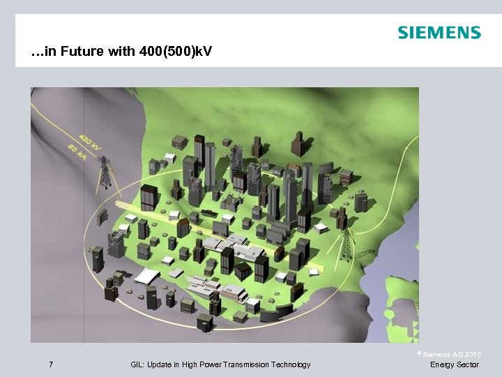 …in Future with 400(500)k. V © Siemens 7 GIL: Update in High Power Transmission
