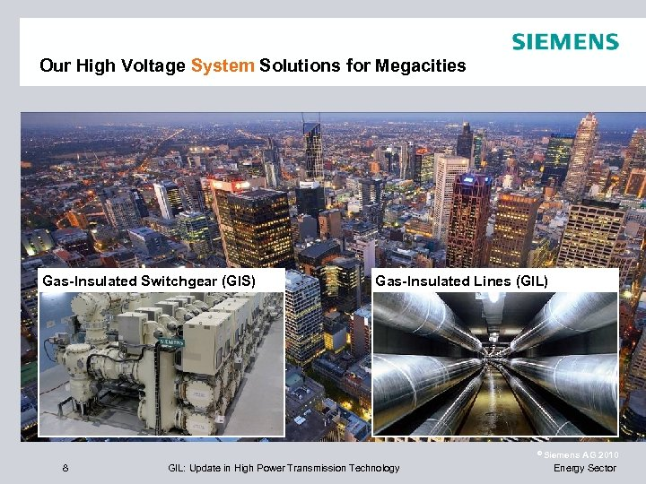 Our High Voltage System Solutions for Megacities Gas-Insulated Switchgear (GIS) Gas-Insulated Lines (GIL) ©