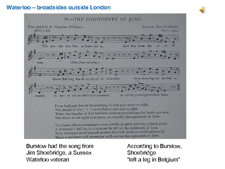 Waterloo – broadsides outside London Poor boney All you people who live at home