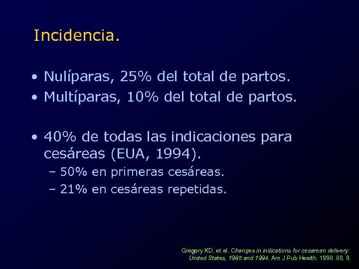 Incidencia. • Nulíparas, 25% del total de partos. • Multíparas, 10% del total de