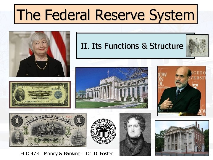 The Federal Reserve System II. Its Functions & Structure ECO 473 – Money &