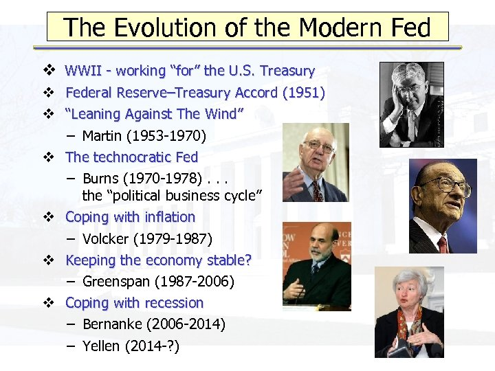"""The Evolution of the Modern Fed v WWII - working """"for"""" the U. S."""