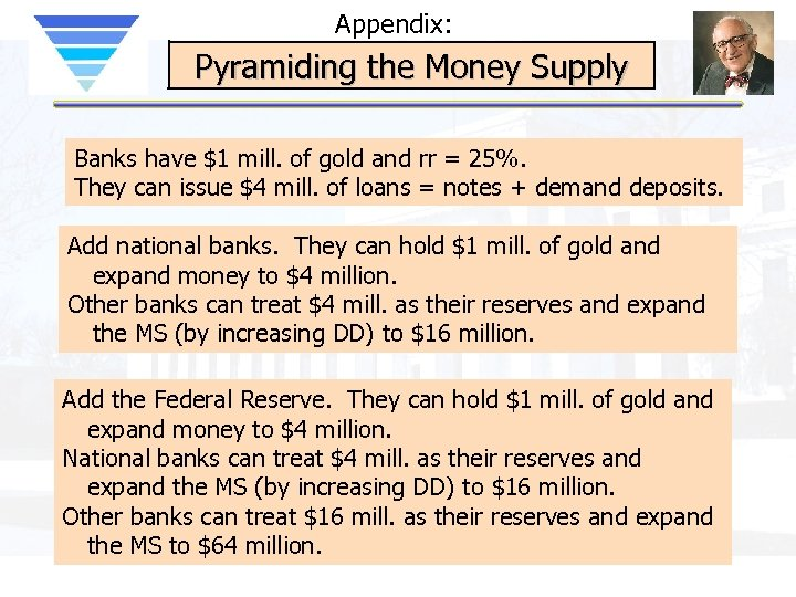 Appendix: Pyramiding the Money Supply Banks have $1 mill. of gold and rr =