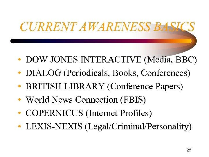 CURRENT AWARENESS BASICS • • • DOW JONES INTERACTIVE (Media, BBC) DIALOG (Periodicals, Books,