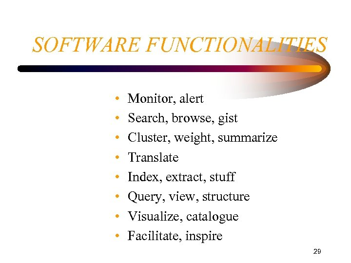 SOFTWARE FUNCTIONALITIES • • Monitor, alert Search, browse, gist Cluster, weight, summarize Translate Index,