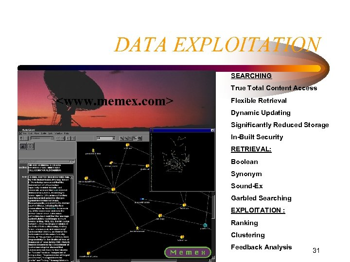 DATA EXPLOITATION SEARCHING True Total Content Access <www. memex. com> Flexible Retrieval Dynamic Updating