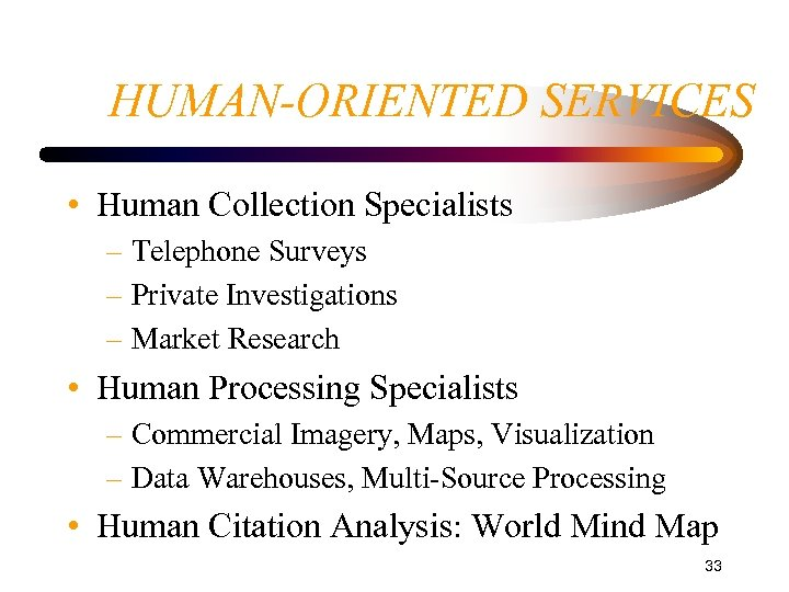 HUMAN-ORIENTED SERVICES • Human Collection Specialists – Telephone Surveys – Private Investigations – Market