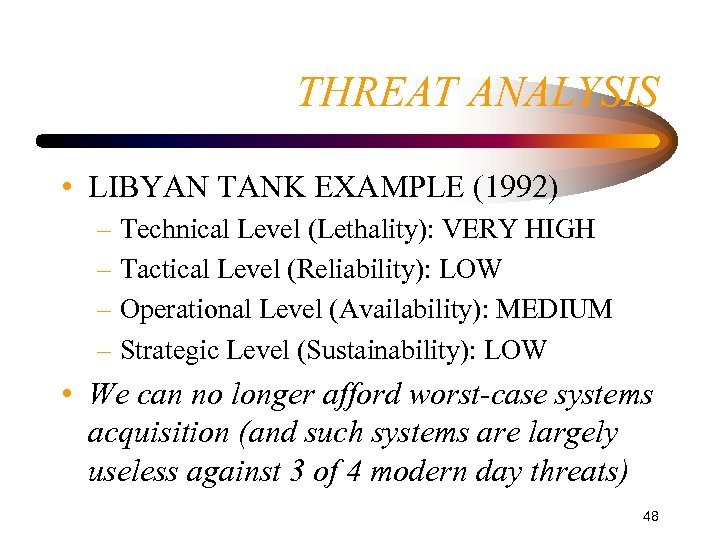 THREAT ANALYSIS • LIBYAN TANK EXAMPLE (1992) – Technical Level (Lethality): VERY HIGH –