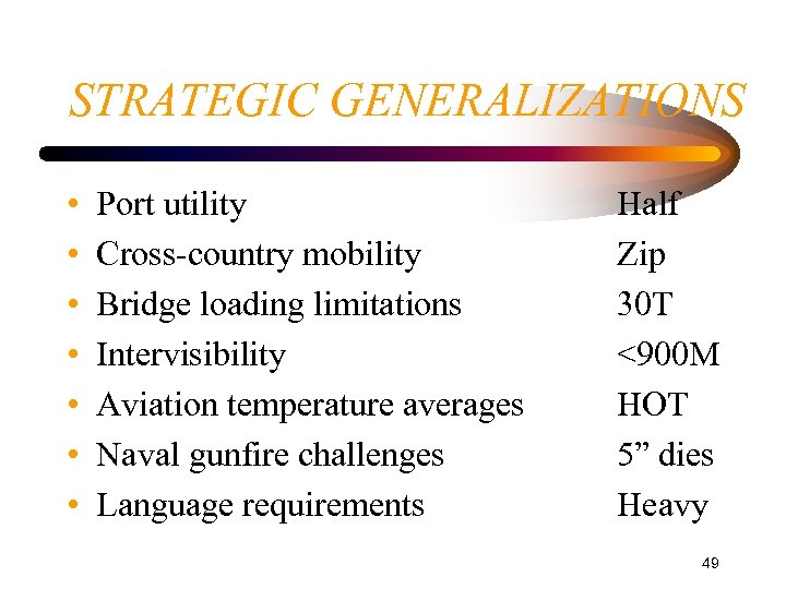 STRATEGIC GENERALIZATIONS • • Port utility Cross-country mobility Bridge loading limitations Intervisibility Aviation temperature