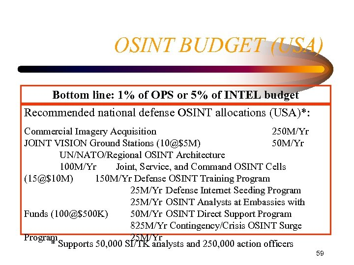 OSINT BUDGET (USA) Bottom line: 1% of OPS or 5% of INTEL budget Recommended