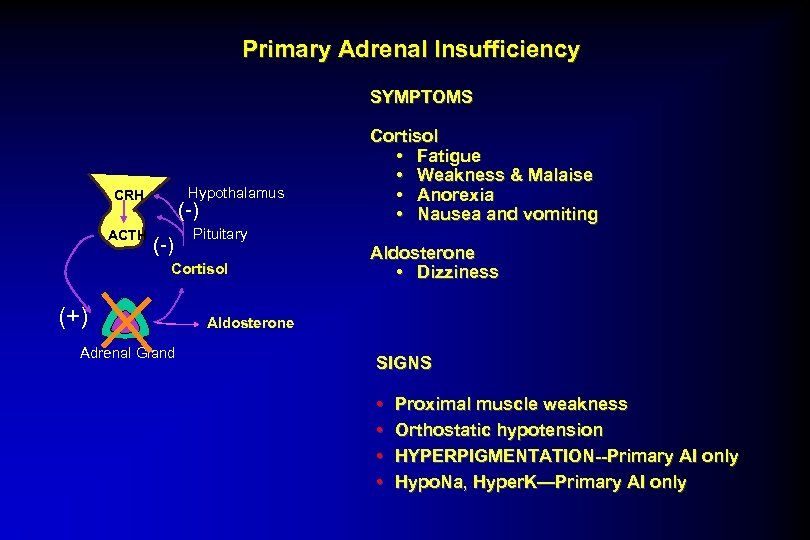 Primary Adrenal Insufficiency SYMPTOMS Hypothalamus CRH ACTH (-) Pituitary Cortisol (+) Adrenal Gland Cortisol