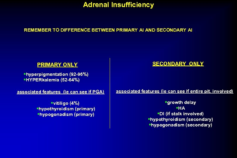Adrenal Insufficiency REMEMBER TO DIFFERENCE BETWEEN PRIMARY AI AND SECONDARY AI PRIMARY ONLY SECONDARY